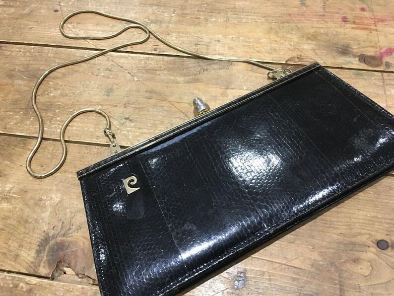 Pierre Cardin vintage 1970/'s black alligator clutch bag