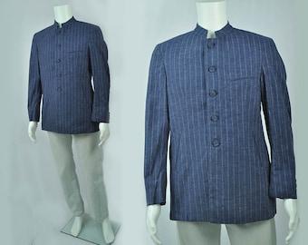 Vintage DEADSTOCK, Blue Striped 1960's Nehru Jacket
