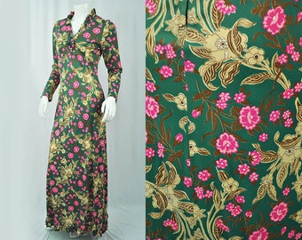 1970's Floral Maxi Dress // Small