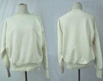 50's-60's Varsity White Sweatshirt// V-Stitching // MED-LARGE