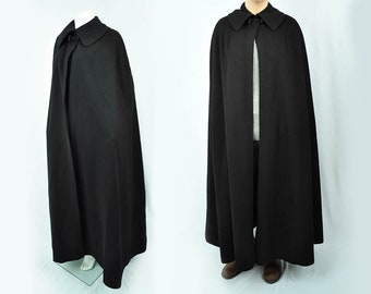 Vintage 60's Givenchy Black Wool Cape | Made in France | Large/XL