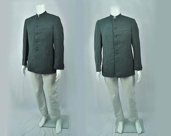 Vintage DEADSTOCK, Lightweight Aqua Blue Striped 1960's Nehru Jacket