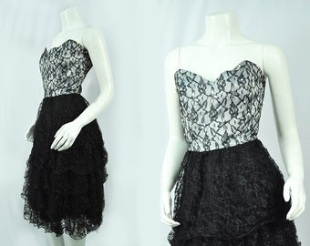 80s Black Strapless Ruffled Tutu Skirt Cocktail Dress/ 80's Prom/ XS-Small