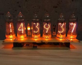 Free 5 DAYS DELIVERY BIG Nixie Tubes Clock 6xIN-14 Desk Mid Century Edison Bulb Russian Vintage Shelves Soviet Amber Led. 110/220V