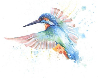 Kingfisher Painting Etsy
