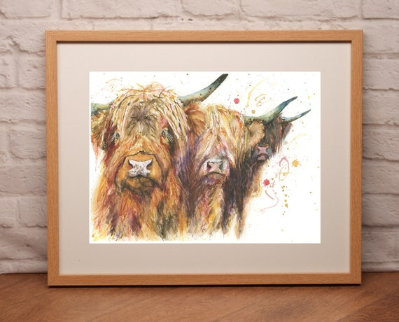 Fine Art Print of THREE HIGHLAND COWS watercolour by 605