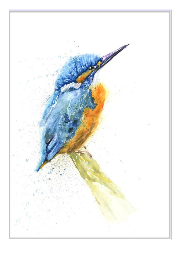 Limited Edition A5 Bird Wildlife Print Kingfisher Original Watercolour painting