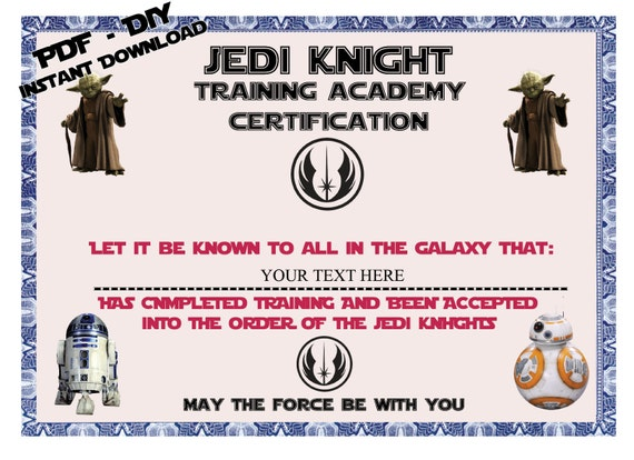 instant dl personalized jedi knight certificate star wars birthday party star wars party the force awaknes diy printable from alisprint on etsy