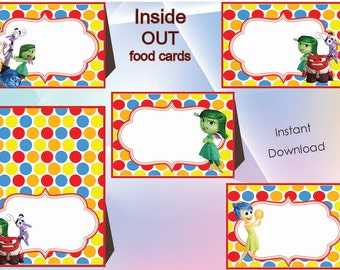 Inside out Food Labels, Food Tents Cards Tags, Inside out Party Printable, Inside out birthday, INSTANT DOWNLOAD,