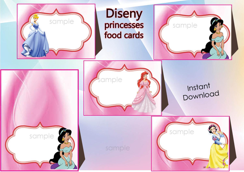 Disney princesses Food Labels Food Tents Cards TagsDisney | Etsy
