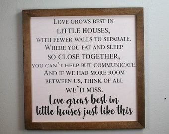 Modern Farmhouse Sign, Love Grows Best, Farmhouse Fresh, Little Houses Sign, Family Love Sign, Living Room Wall Art, Large Wall Sign, rustic