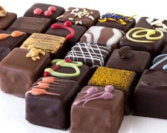 Fine chocolate box, 6 per box, fine chocolate bites, fine chocolate, dark chocolate, milk chocolate, fine dark chocolate, mother's day, mom