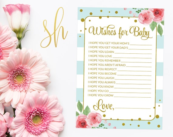 Mom Or Dad Quiz, Mommy Daddy Trivia, Pink Roses, Gold Confetti, Blue  Stripes, Watercolor Flowers, Boy Baby Shower, Instant Download, SH21