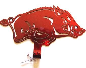 Licensed University of Arkansas Metal Razorback Pig Hook Woo Pig Sooie Logo razorback hook Razorback HOG Logo Metal Razorback gift AR Pig