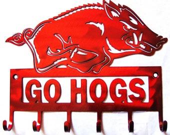 Metal Licensed University of ARKANSAS Go Hogs Hooks & Pig AR Razorbacks Go Hogs Woo Pig Sooie Razorback sign Razorback gift Arkansas Pig