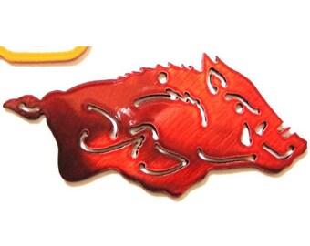 METAL Arkansas Razorback PENDANT or Key Chain Go Hogs Pig Pendant Necklace Ball Chain or Key Ring Razorback jewelry Woo Pig Sooie Razorback