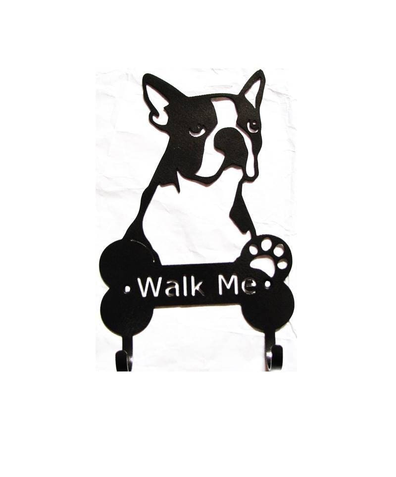 Metal Boston Terrier Wall Hooks Dog Leash Harness Holder Metal