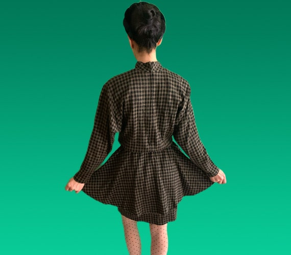 Vintage 1980s Houndstooth Peplum Dress, Sybil of C