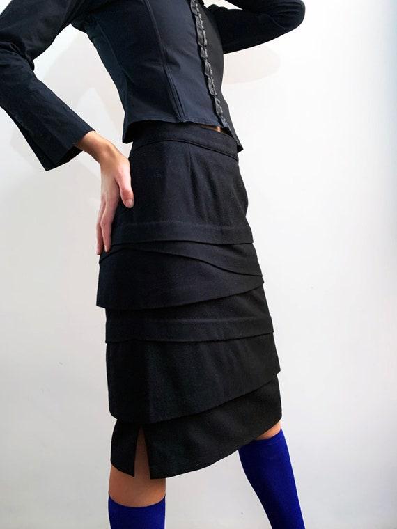 Asymmetrical Italian Wool Skirt