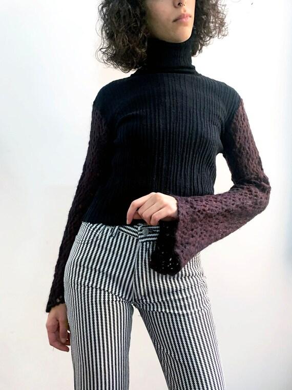 Dries Van Noten Crochet Sleeve Pleated Sweater