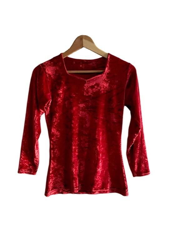 Vintage 1990s Red Crushed Velvet Top