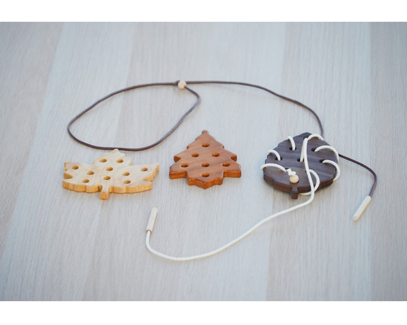 Handmade leaf shaped Hardwood Lacing cards  Organic and Organic Tree Pack