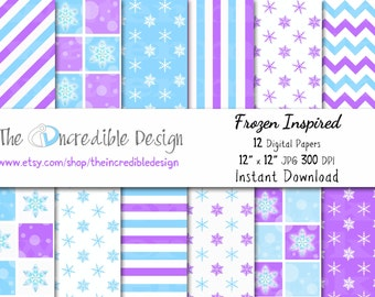 """Frozen,  Inspired digital paper pack for scrapbooking, Making Cards, Tags and Invitations, """"FROZEN PAPER"""" Instant Download"""