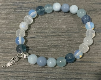 Medley of soft blue  and white natural gemstone beads High Vibrational Healing crystals Angelic Protection Bracelet