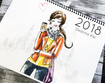 2018 Fashion Calendar, Fashion Illustration Calendar, 2018 Calendar, Wall Art Calendar, Style Calendar, Fashion Prints, Fashion Illustration