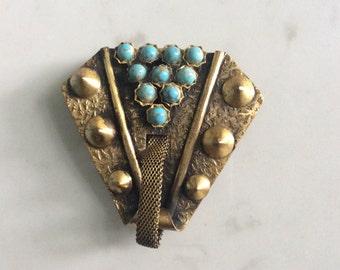 Large machine age 40s dress/coat clip turquoise coloured stones