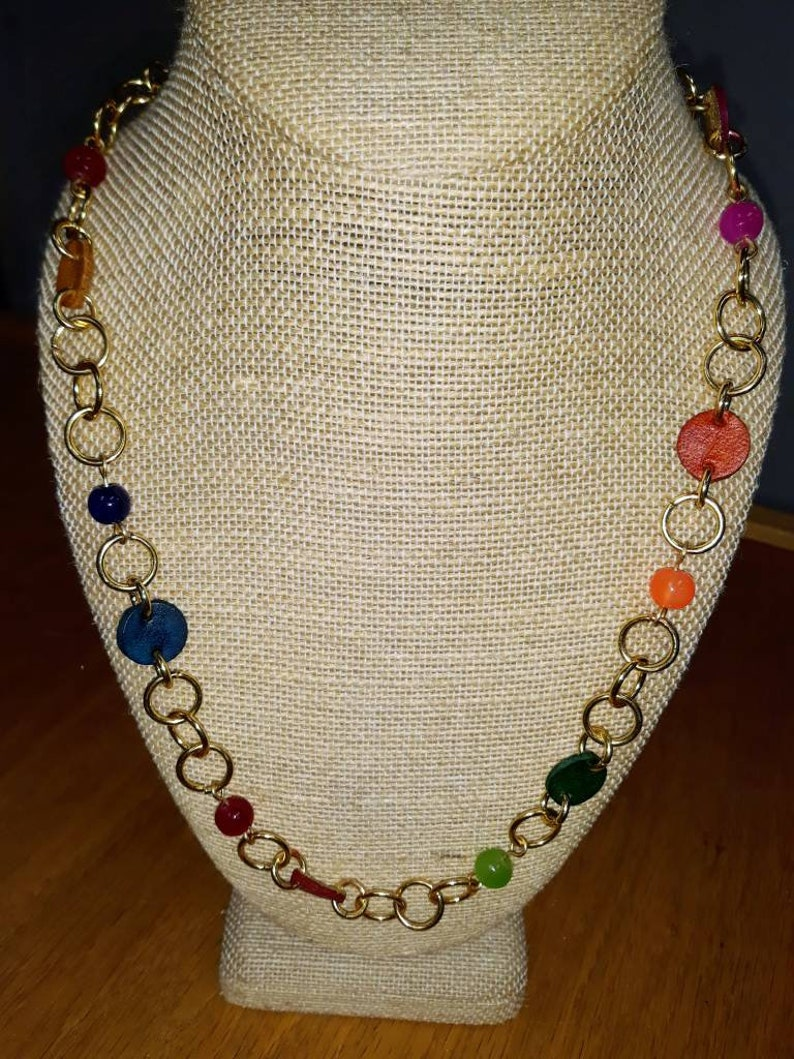 Rainbow Dreams  18k gold plate necklace with multicolored image 0