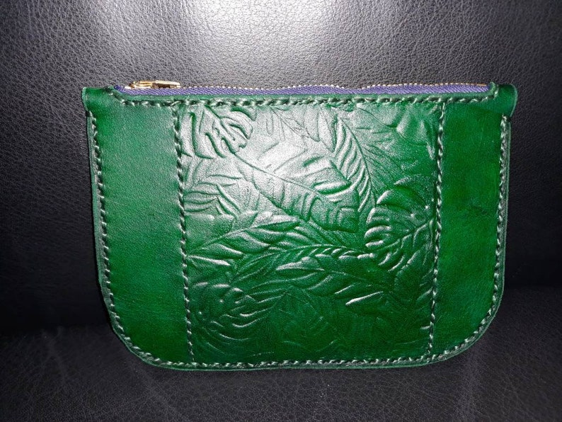 Hand cut stamped dyed and sew genuine leather clutch image 0