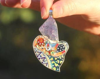 Nature Fusion Pendant with Cloisonné Enamel in Silver and Crystalized Agate/ Wearable Art / Perfect Gift / Customize the Painting