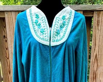 Vintage Teal Long Sleeve Night Gown/Housecoat