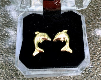 Gold Plated Dolphin Stud Earrings