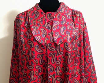 1970s Paisley Print on Red Button Down Blouse