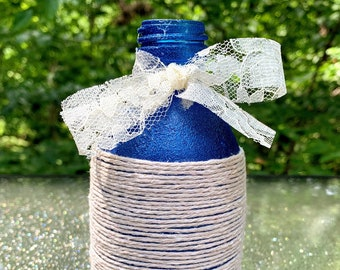 Metallic Blue Glass Bottle Wrapped in Cotton Twine