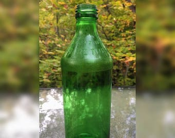 Vintage Green Glass Soda Bottle