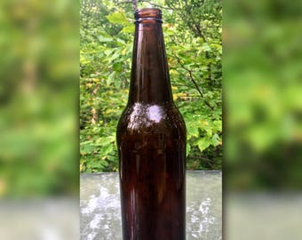 Vintage Tall Dark Brown Glass Bottle