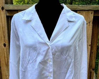 Vintage Sears White Long Sleeve Button Blouse