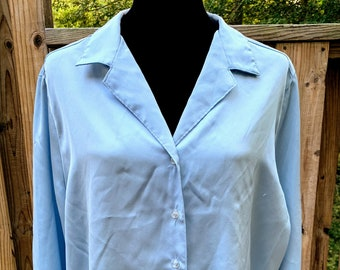 Vintage Sears Light Blue Long Sleeve Button Blouse
