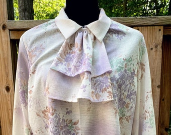 1970s Women's Sheer White and Purple Floral Blouse