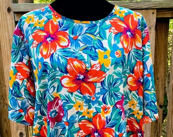 Vintage Kathie Lee Plus Floral Blouse