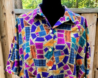 Vintage Caliche Collection Abstract Button Down Blouse