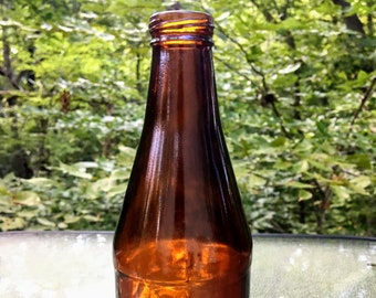 Vintage Tall Brown Glass Alcohol Bottle