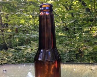 Vintage Tall Brown Glass Liquor Bottle