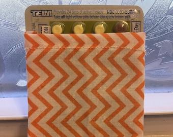 Handmade Chevron Pill Case, Pouch