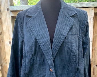 1970s Men's Extra Exitions Black Corduroy Buttoned Jacket