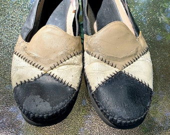 Vintage Black and Beige Slip On Shoes