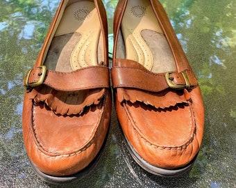 Vintage Faux Leather Brown Slip On Shoes